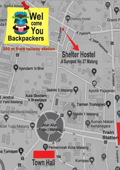 Map Malang city - how to get to Shelter Hostel Malang